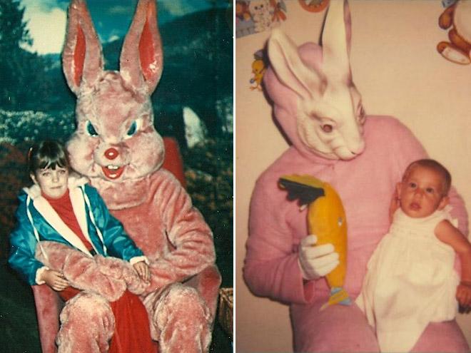 Creepy vintage Easter Bunny photos.