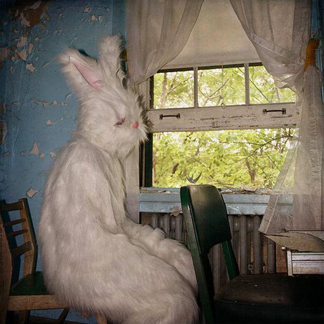 Creepy vintage Easter Bunny photo.