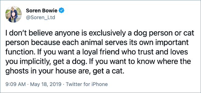 I don't believe anyone is exclusively a dog person or cat person because each animal serves its own important function. If you want a loyal friend who trust and loves you implicitly, get a dog. If you want to know where the ghosts in your house are, get a cat.