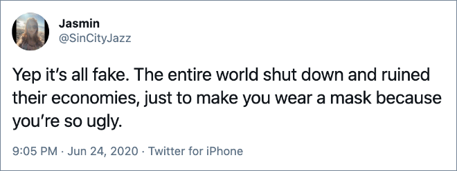 Yep it's all fake. The entire world shut down and ruined their economies, just to make you wear a mask because you're so ugly.