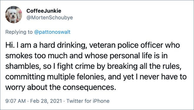 Hi. I am a hard drinking, veteran police officer who smokes too much and whose personal life is in shambles, so I fight crime by breaking all the rules, committing multiple felonies, and yet I never have to worry about the consequences.