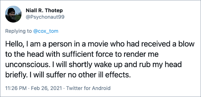 Hello, I am a person in a movie who had received a blow to the head with sufficient force to render me unconscious. I will shortly wake up and rub my head briefly. I will suffer no other ill effects.