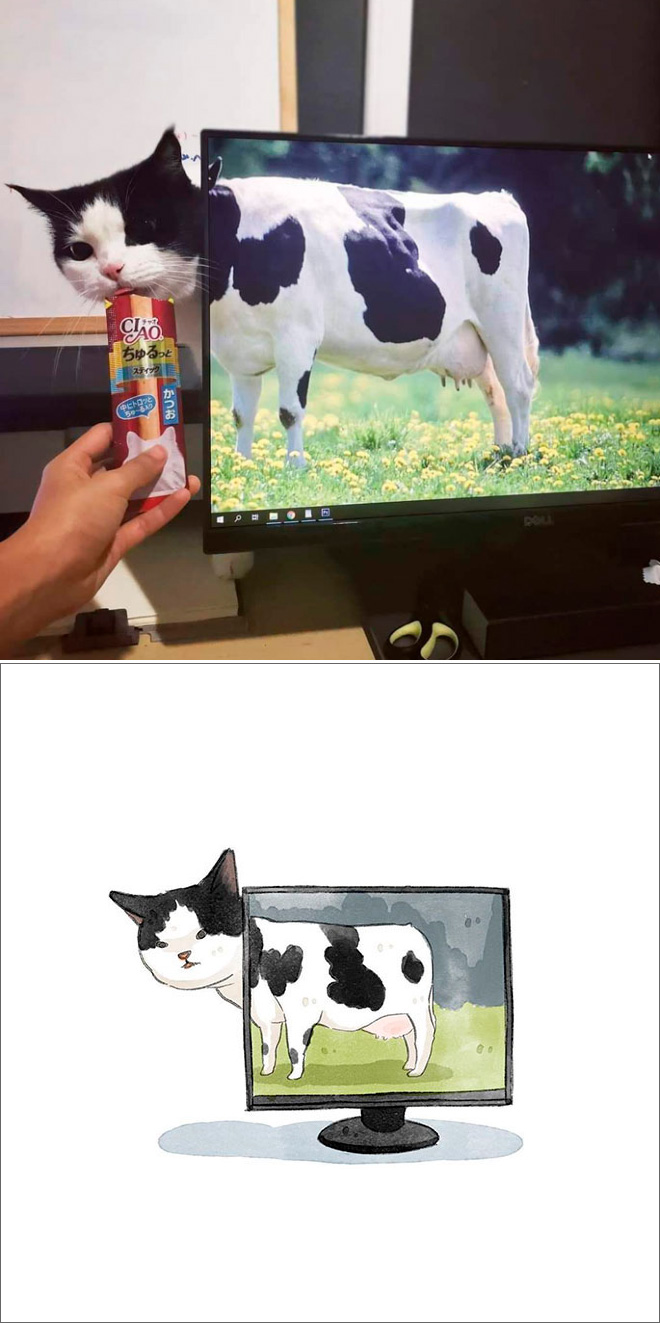 Famous cat picture turned into a watercolor painting.