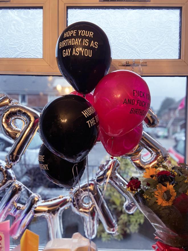 Abusive birthday balloons.
