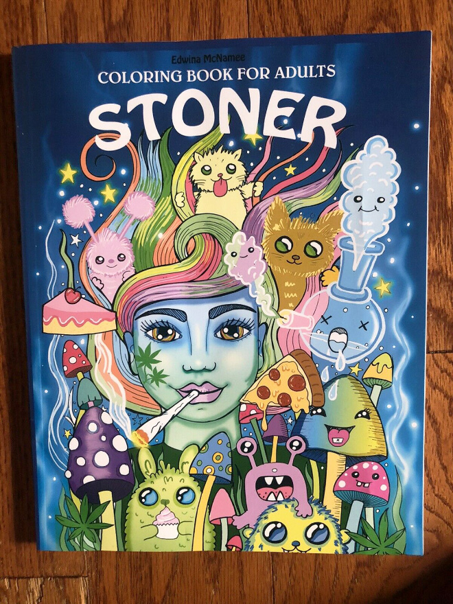 """Stoner Coloring Book is the perfect way to settle down and chillax for the evening so grab some """"buds"""", some junk food and get lost in this trippy psychedelic dream."""