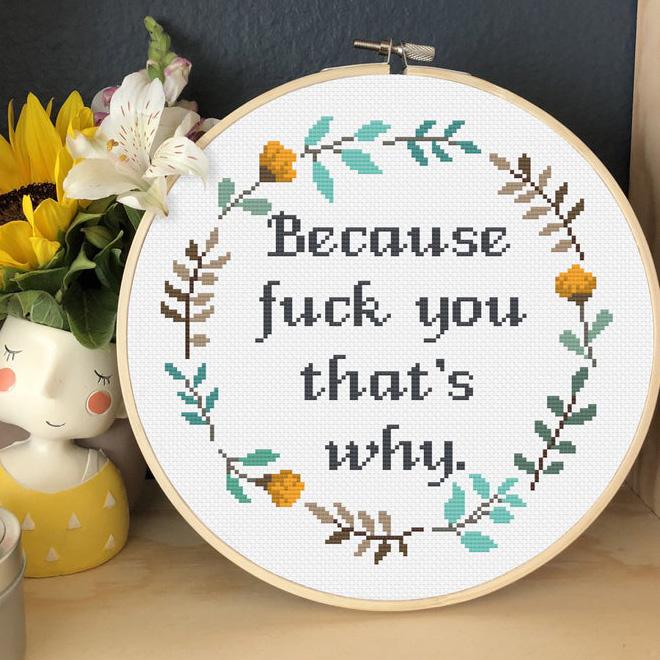 Brilliant rude cross Stitch by Katerina Lukashina.