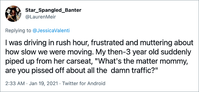 """I was driving in rush hour, frustrated and muttering about how slow we were moving. My then-3 year old suddenly piped up from her carseat, """"What's the matter mommy, are you pissed off about all the damn traffic?"""""""