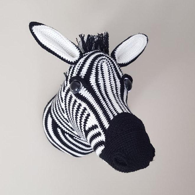 Animal-friendly crochet taxidermy.