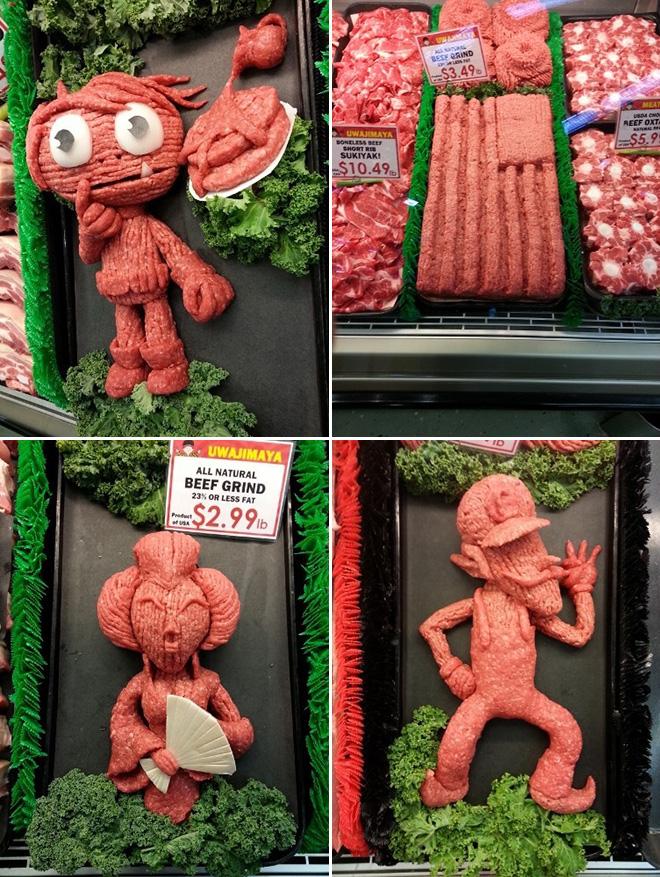 Ground meat sculptures.