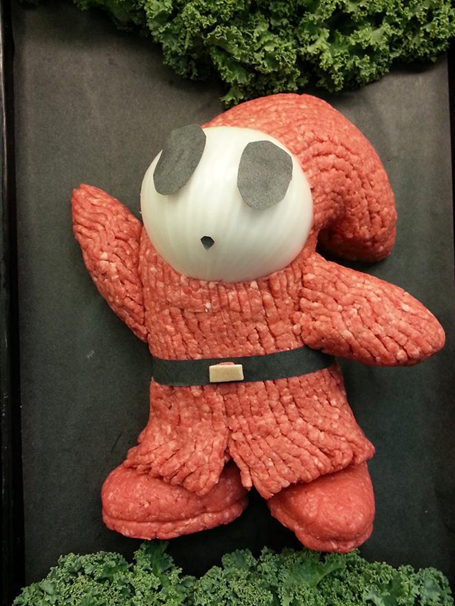 Ground meat sculpture.