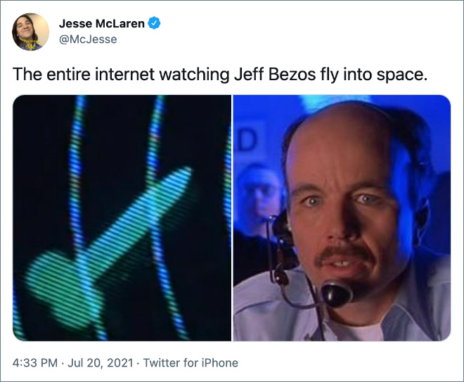 The entire internet watching Jeff Bezos fly into space.