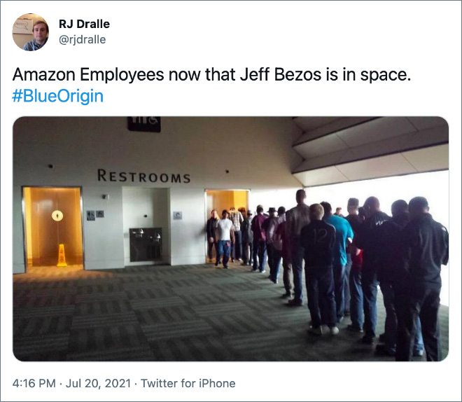 Amazon Employees now that Jeff Bezos is in space.