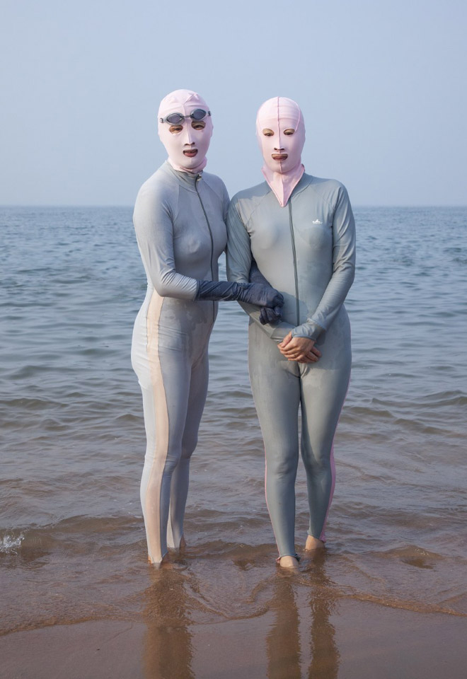 Facekini swimsuits is a weird trend in China.