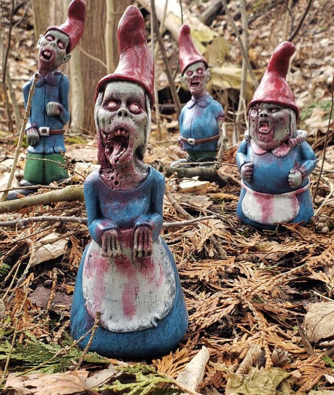 Zombie garden gnomes.