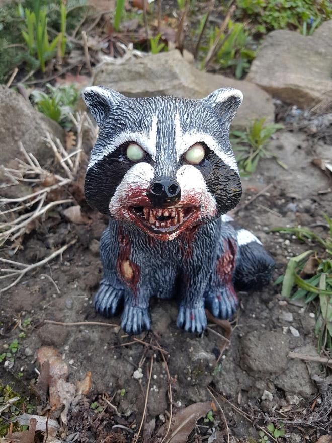 Zombie garden raccoon.