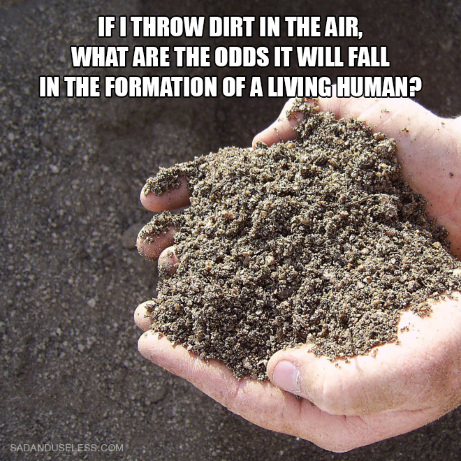 If I throw dirt in the air, what are the odds it will fall in the formation of a living human?