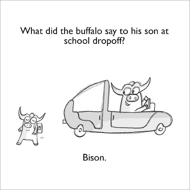 Jeu de mots sur le bison.