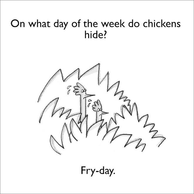 Jeu de mots de poulet.