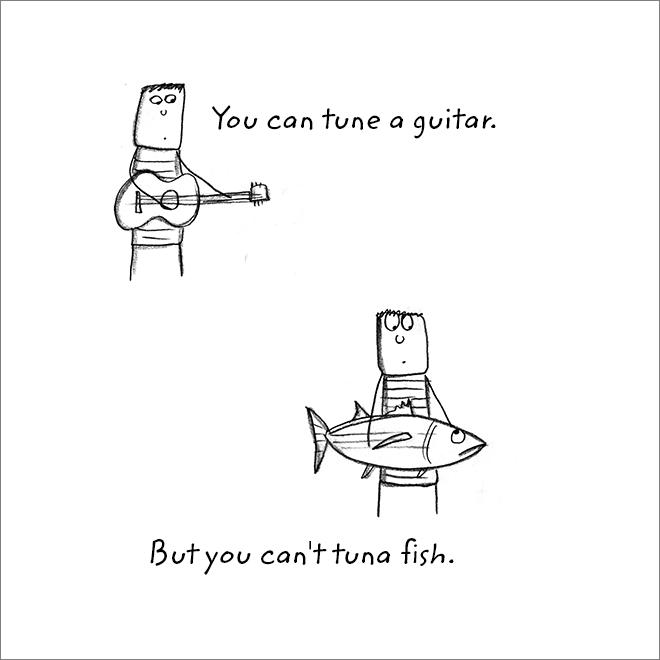 Jeu de mots à la guitare.