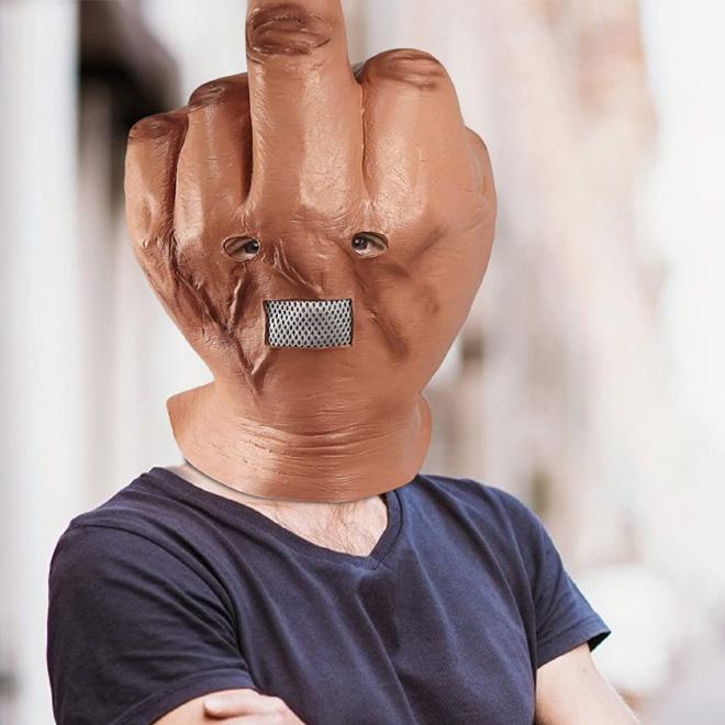 Middle finger Halloween mask.