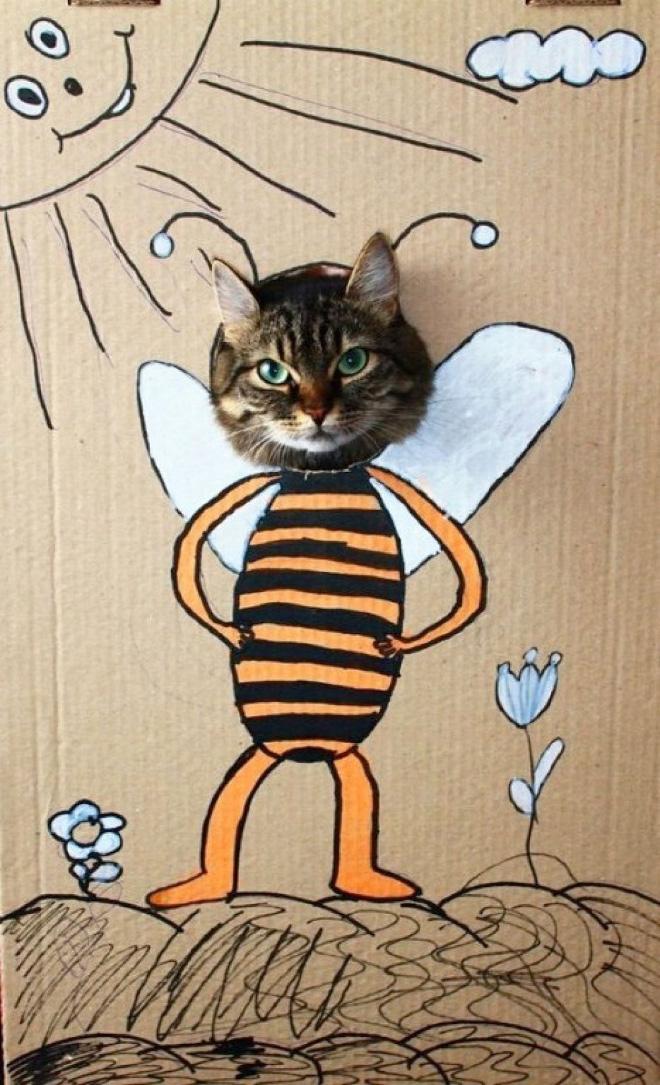 Cardboard cat art.