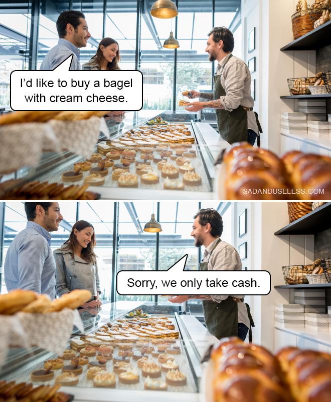 Je voudrais acheter un bagel avec du fromage à la crème.