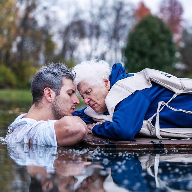 Funny grandma + grandson costume.