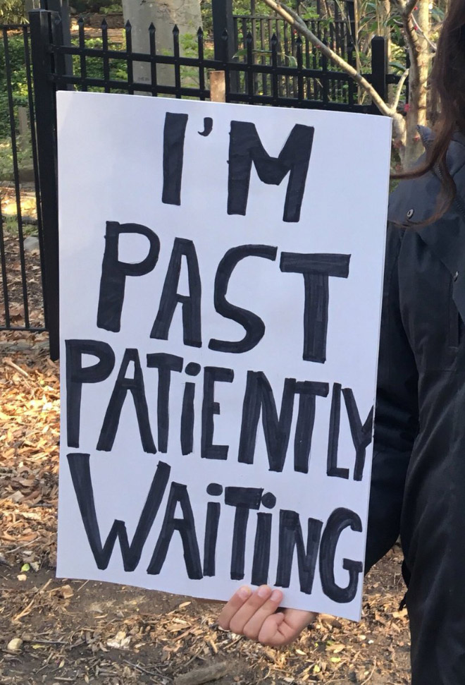 Hilariously polite protest sign.