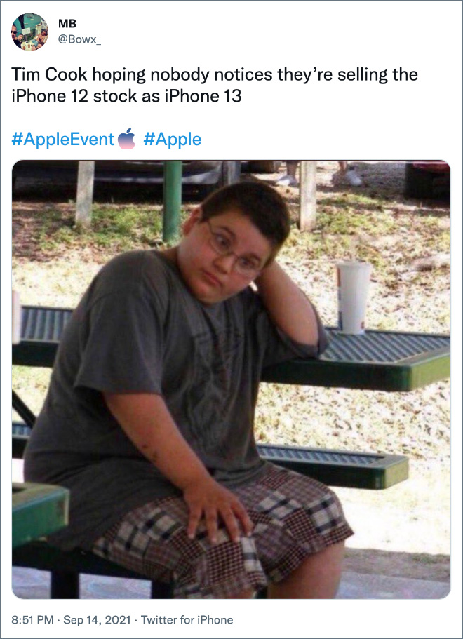 Tim Cook hoping nobody notices they're selling the iPhone 12 stock as iPhone 13.