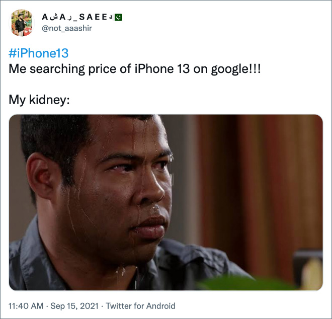 Me searching price of iPhone 13 on Google!