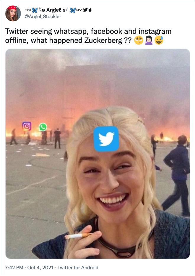 Twitter seeing whatsapp, facebook and instagram offline, what happened Zuckerberg ??