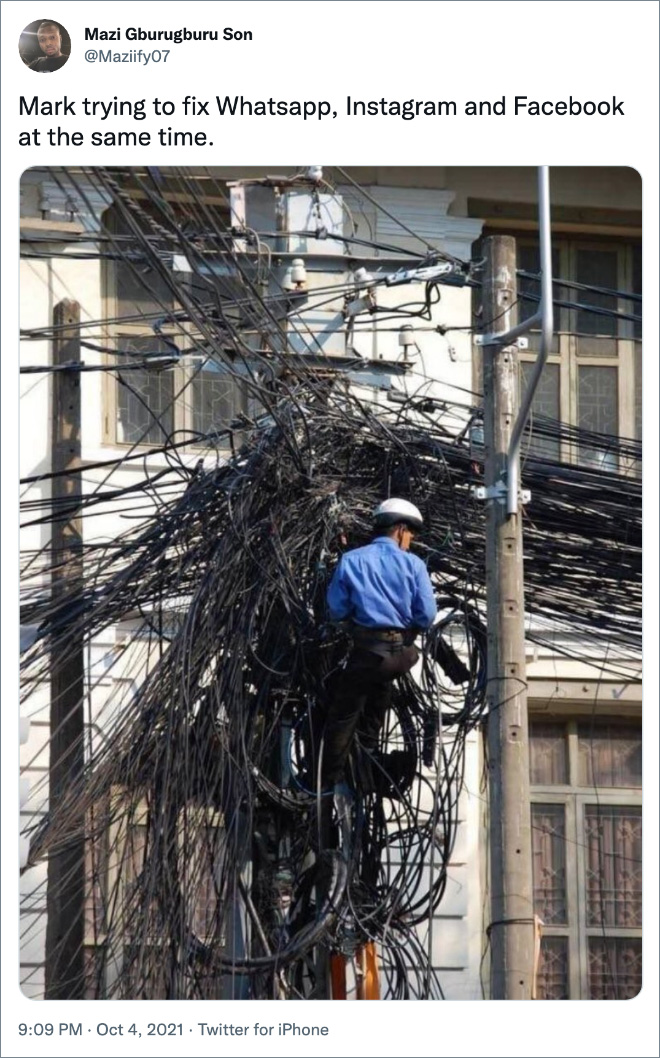 Mark trying to fix Whatsapp, Instagram and Facebook at the same time.