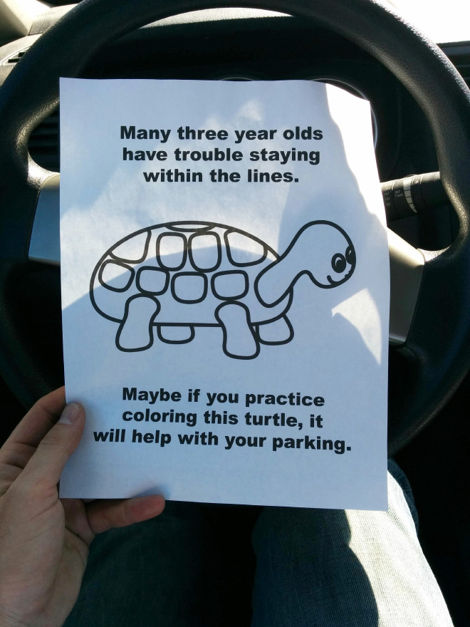 Funny bad parking note.